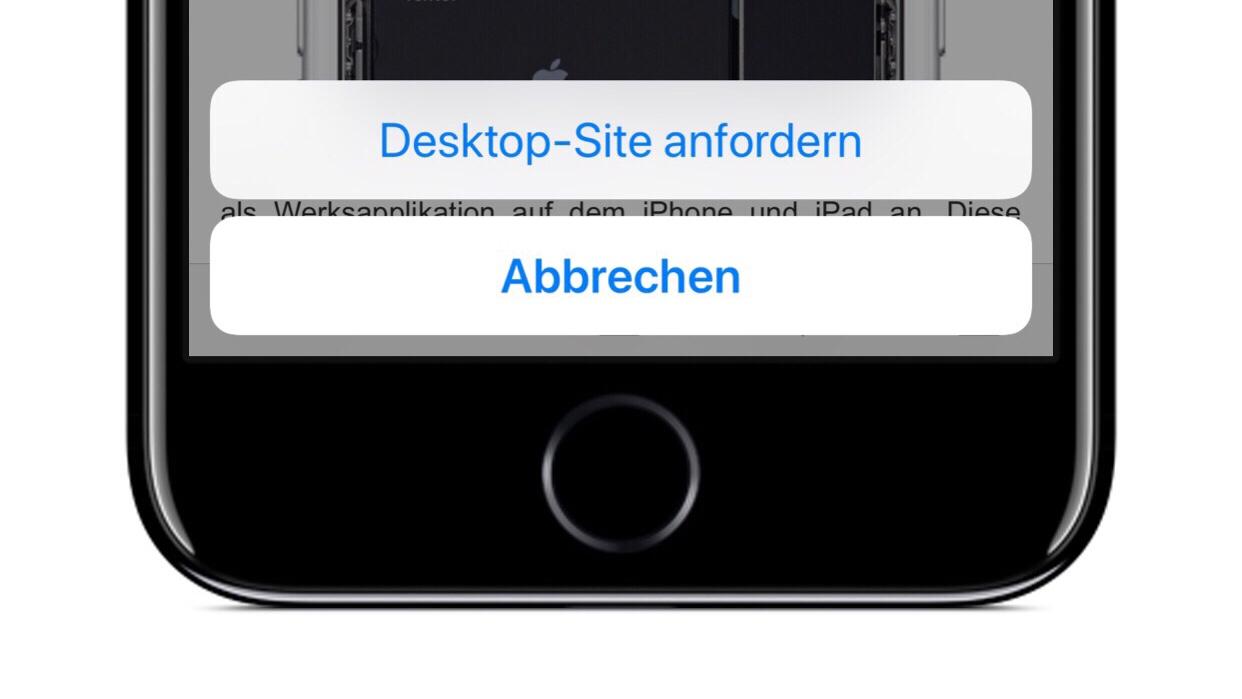 Desktop-Site anfordern Schaltfläche