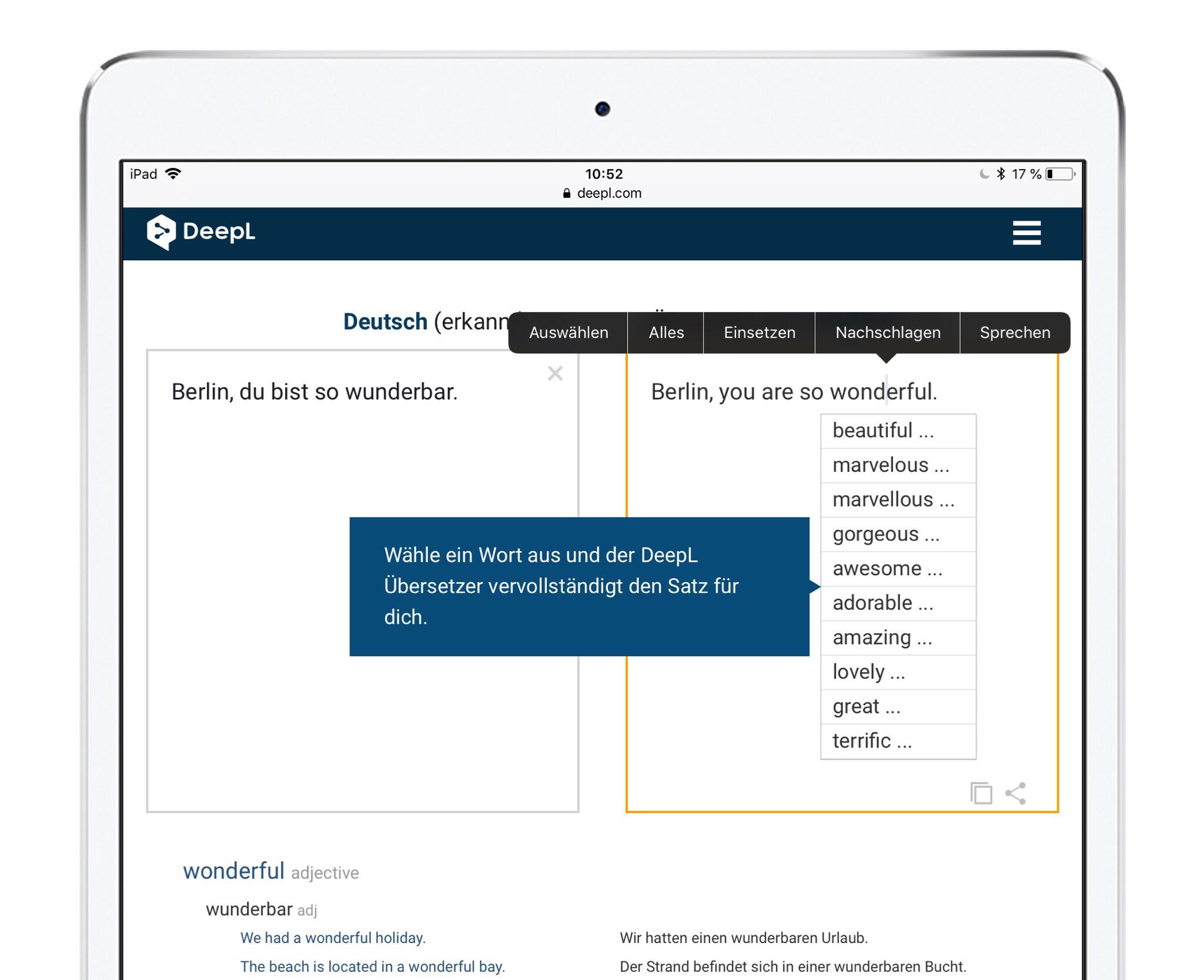 DeepL iPad Pro Screenshot