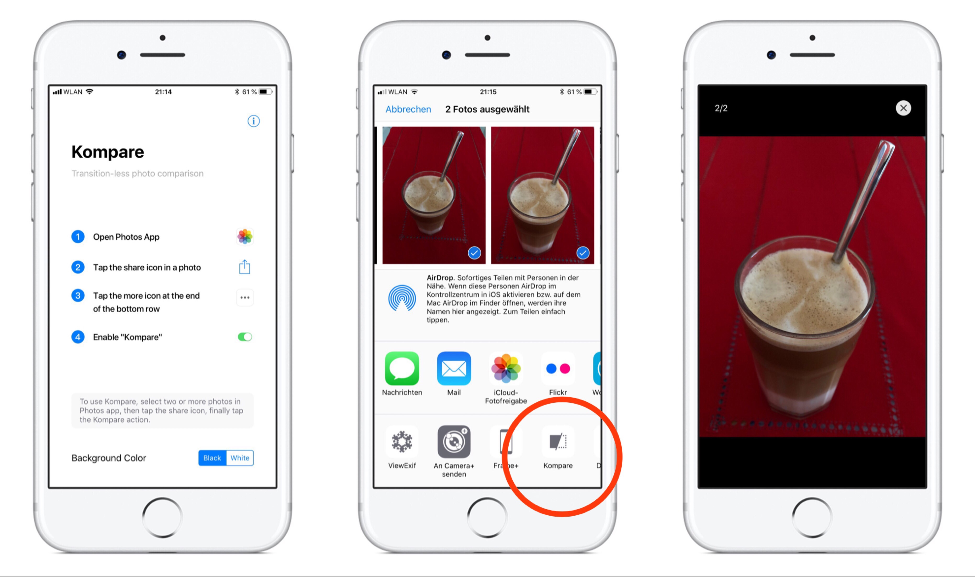 Screenshots der Applikation Kompare