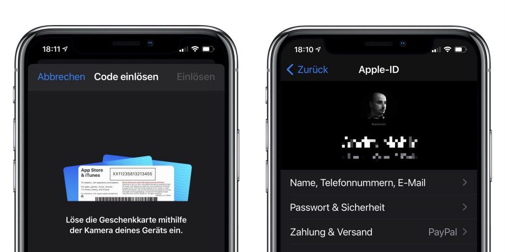 iOS Einstellungen für Käufe und Guthabenskarten.