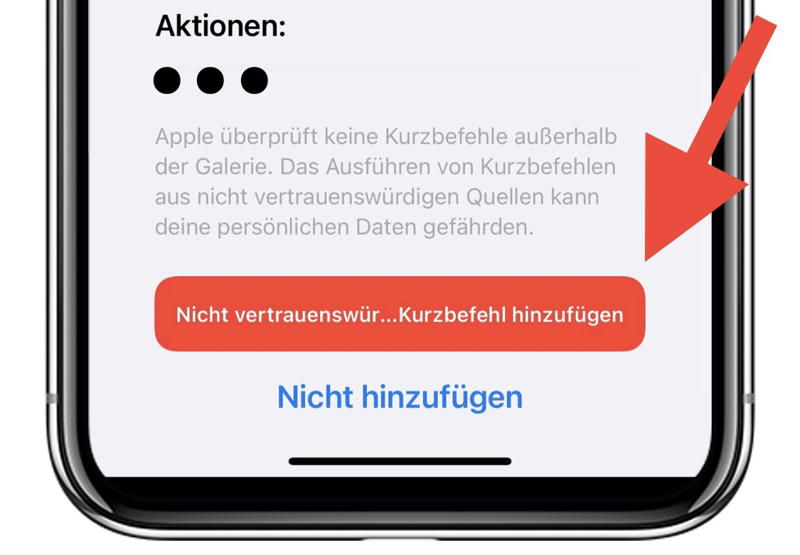 Nicht vertrauenswürdigen Kurzbefehl hinzufügen Screenshot