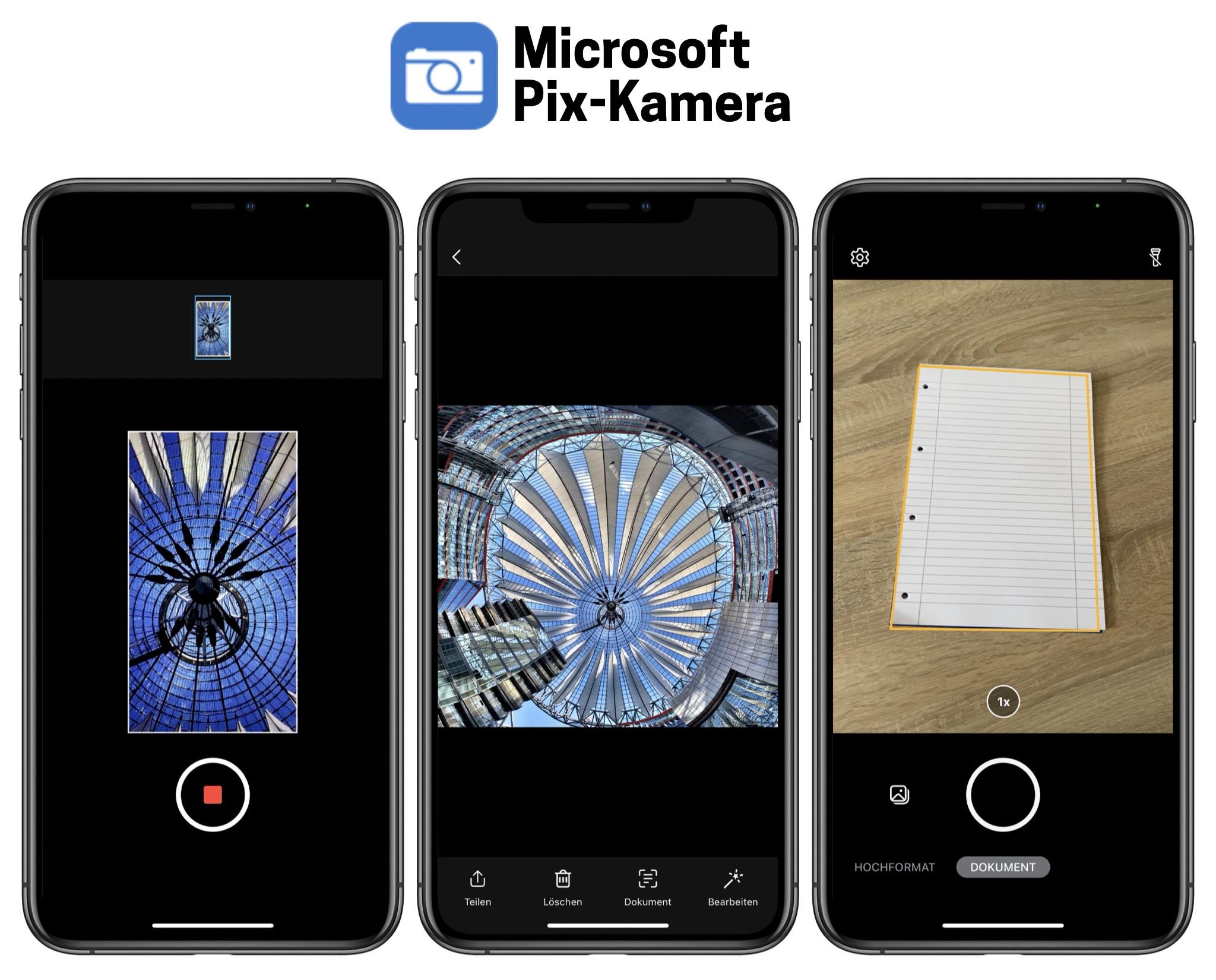 """Zu seinen ist die Microsoft Pix App mit der PhotoSynth """"Potsdamer Platz"""" sowie der Dokumenten Scanner Funktion"""